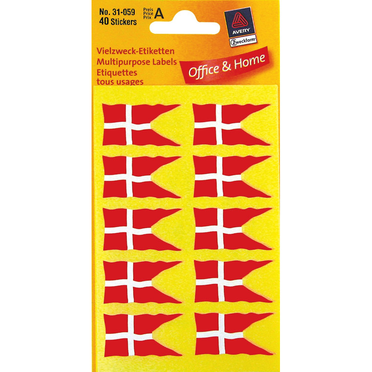 Avery 31-059 - Danske splitflag klistermærker 34 x 18 mm - 40 etiketter