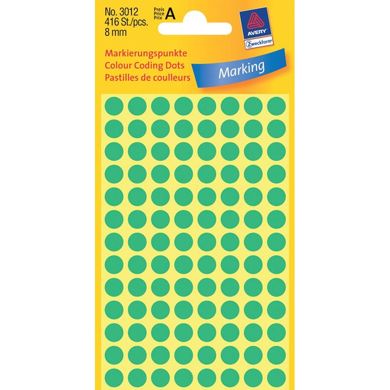 Avery 3012 - Grønne farvekodingsdots Ø: 8 mm - 416 stk