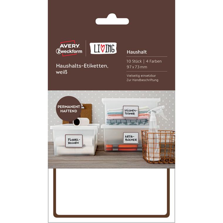 Avery 62009 - Firkantede husholdningsetiketter 97 x 73 mm - 10 stk