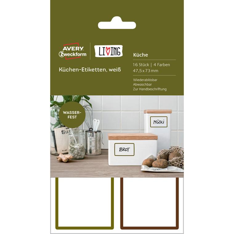 Avery 62002 - Firkantede aftaglige køkkenetiketter 47,5 x 73 mm - 16 stk