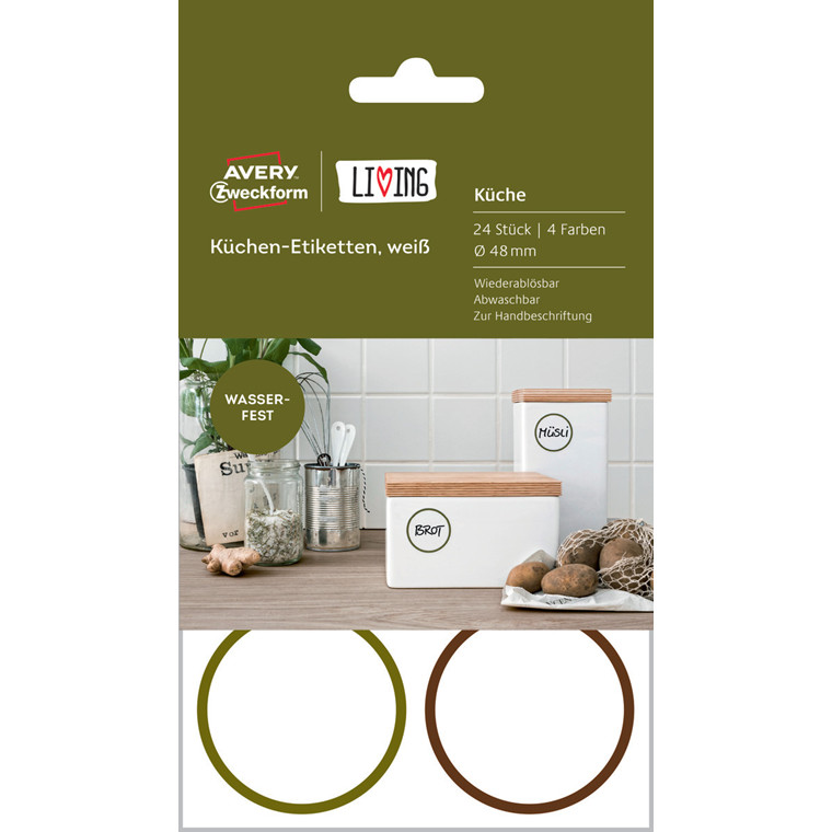 Avery 62001 - Runde aftaglige køkkenetiketter med farvet ramme - 24 stk