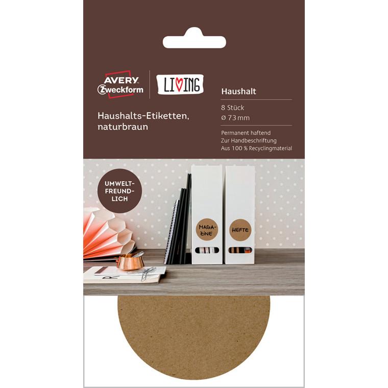Avery  62011 - Runde brune etiketter af genbrugsmateriale - 8 stk
