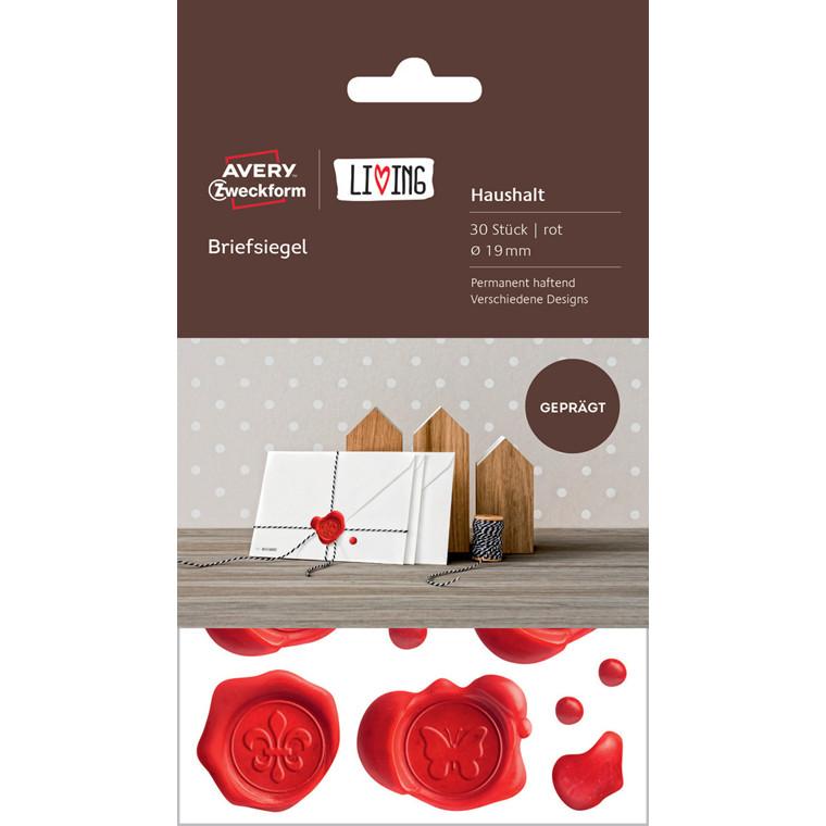 Avery 62016 - Rød brevforsegling med prægning - 30 stk