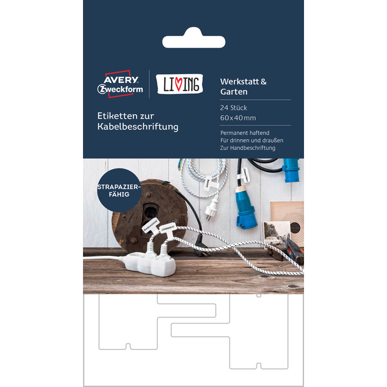 Avery 62027 - Etiketter til mærkning af kabler 60 x 40 mm - 24 stk