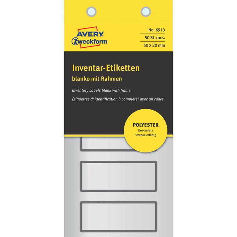 Avery 6913 - Sølvfarvede etiketter til inventar og udstyr 50 x 20 mm - 50 stk
