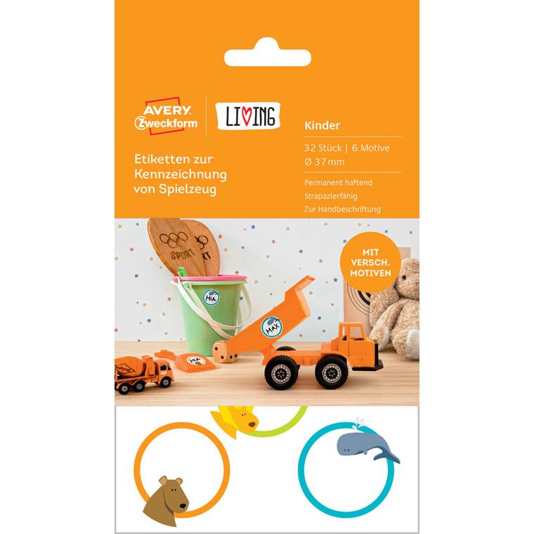 Avery 62034 - Etiketter til mærkning af legetøj med 6 motiver Ø: 37 mm - 32 stk