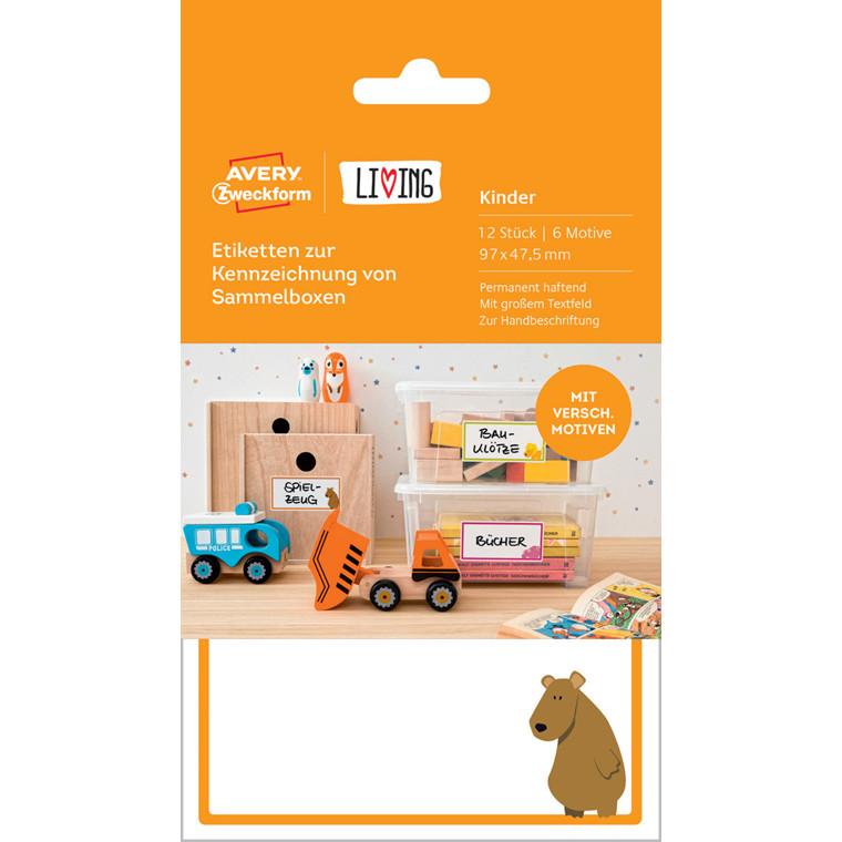 Avery 62036 - Etiketter med motiver til legetøjskasser 97 x 47,5 mm - 12 stk