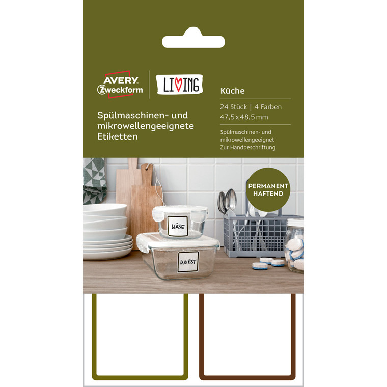 Avery 62004 - Etiketter til opvaskemaskine og mikrobølgeovn - 24 stk