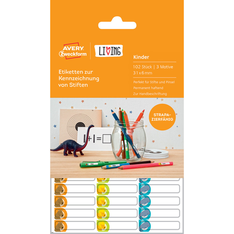 Avery 62039 - Små etiketter til mærkning af blyanter 31 x 6 mm - 102 stk