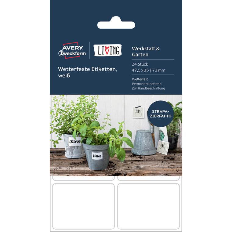 Avery 62025 - Firkantede etiketter til udendørs brug - 24 stk