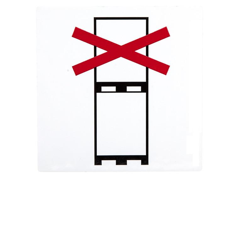 """Etiket - med tryk """"Do not stack"""" hvid/sort/rød 100 x 100 mm - 250 stk"""