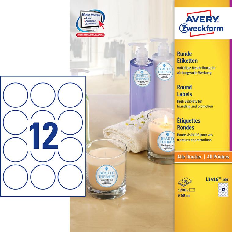 Avery L3416-100 - Runde etiketter Ø: 60 mm 12 pr. ark - 100 ark