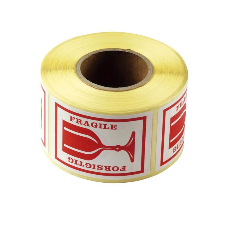 """Etiket -  selvklæbende med tekst """"forsigtig / fragile""""  45 x 65 mm - 500 stk"""