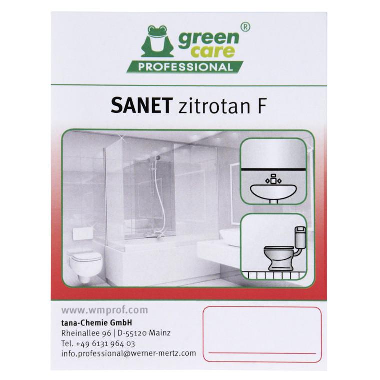 Etiket, Tana Green Care Sanet Zitrotan F, sanitetsrengøring,