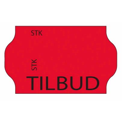 Etiketter - Meto 32 x 19 mm fluor. rød frostlim 5 TILBUD - 1000 stk