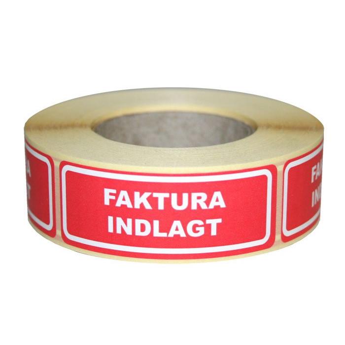 """Etiketter -  selvklæbende etiket """"Faktura indlagt"""" 24 x 64,6 mm - 500 stk"""