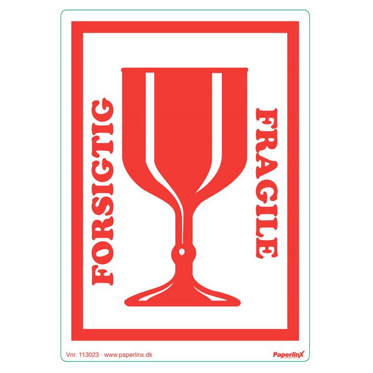 """Etiketter - selvklæbende """"forsigtig/fragile""""  150 x 210 mm rød - 250 stk"""