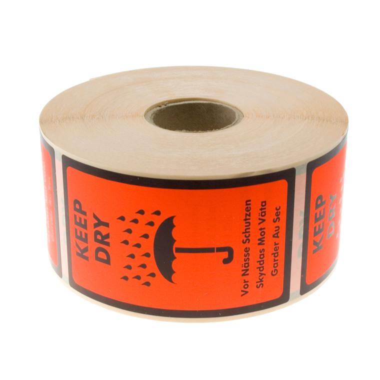 "Etiketter - selvklæbende med tryk ""Keep Dry"" 120 x 86 mm - 1000 stk"
