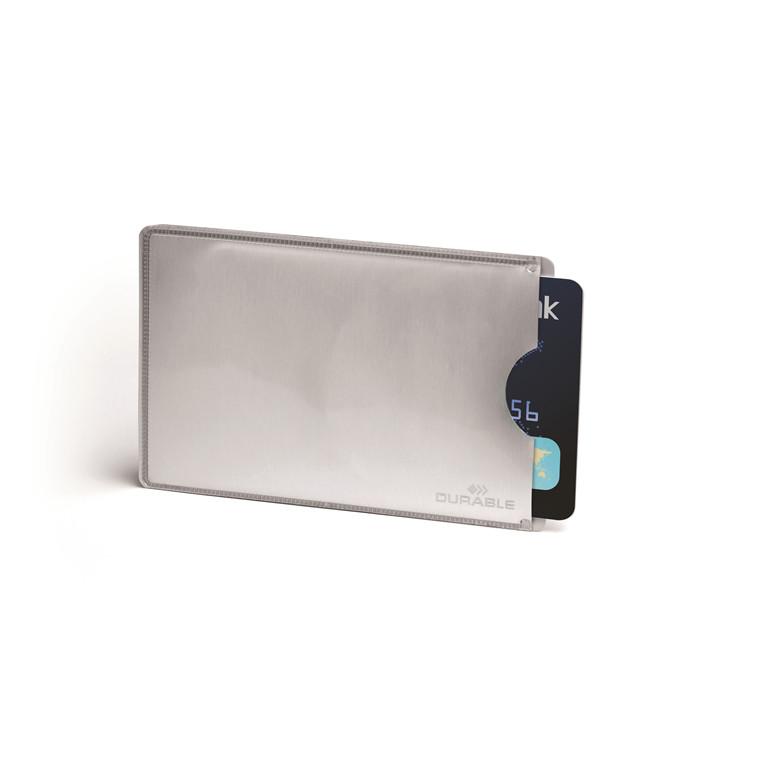 Etui t/kreditkort sølv 61x90mm RFID Secure 10stk/pak