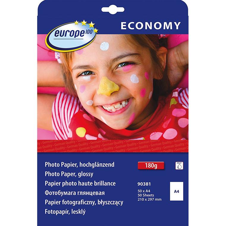 Europe 100 - Fotopapir 90381 A4 180 gram glossy inkjet - 50 ark