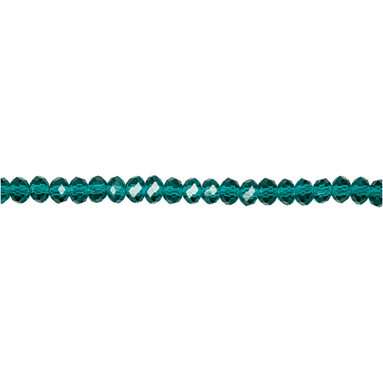 Facetperler, str. 3x4 mm, hulstr. 0,8 mm, smaragdgrøn, 100stk.