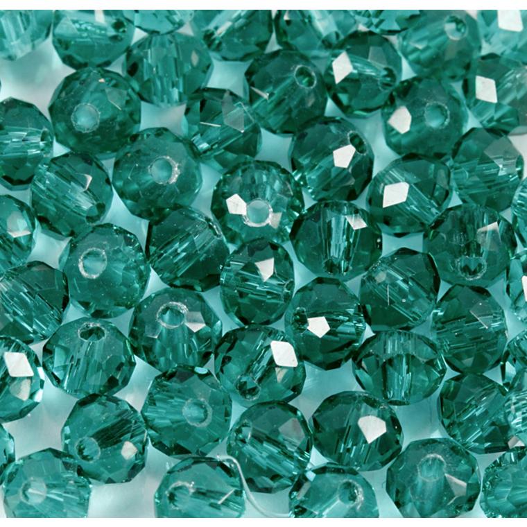 Facetperler, diam. 4 mm, hulstr. 1 mm, grøn, 45stk.