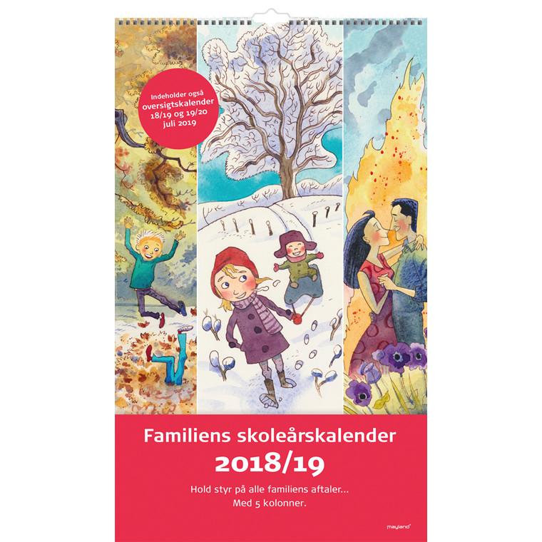 Familie Skoleårskalender 18/19 Mayland med illustrationer 24 x 35 cm - 19 8078 00