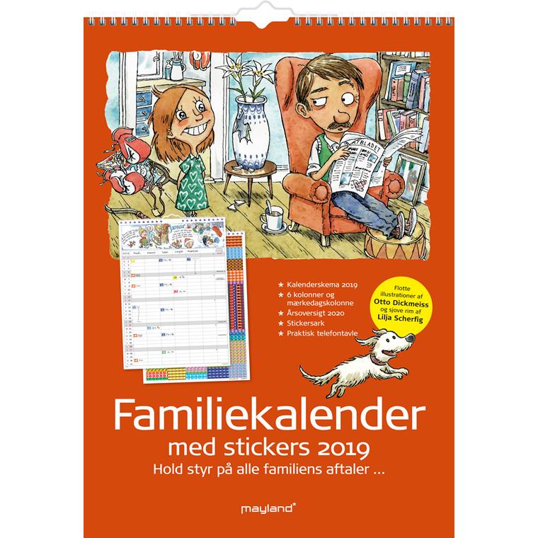 Mayland Familiekalender 6 kolonner med stickers og illustrationer 29,7 x 42 cm - 19 0662 50