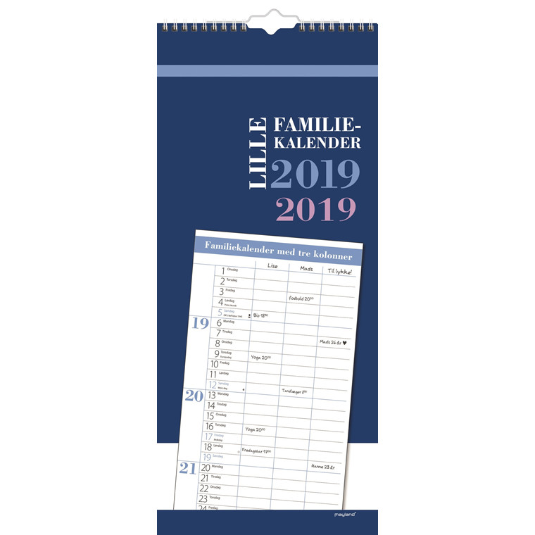 Mayland Familiekalender 2019 lille 19 x 43 cm - 19 0664 40