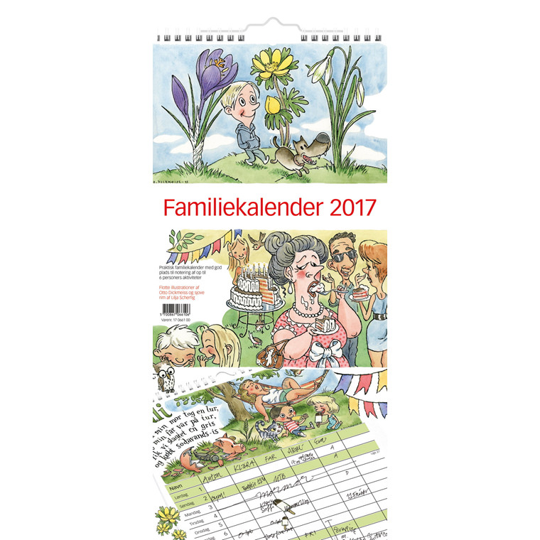 Familiekalender m/illustration 22x50cm 0661 00
