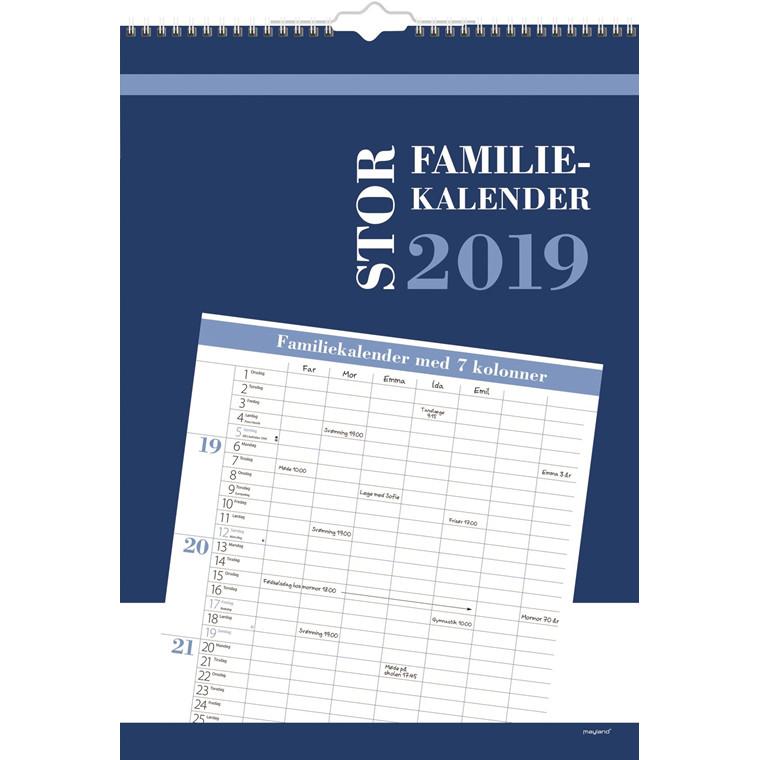Mayland Familiekalender 2019 stor 7 kolonner 34 x 48 cm - 19 0663 80
