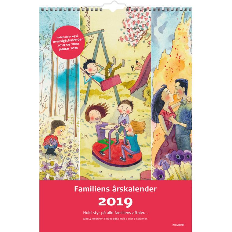 Mayland Familiens årskalender 2019 4 kolonner med illustrationer 24 x 35 cm - 19 0662 20