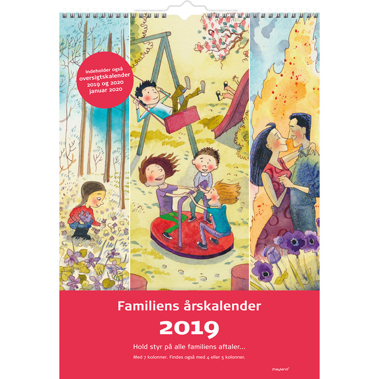 Familiens årskalender 2019 7 kolonner med illustrationer 34 x 48 cm - 19 0662 40