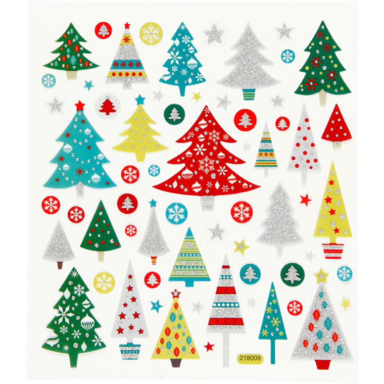 Fancy Glitterstickers, ark 15x16,5 cm, juletræ, 1ark