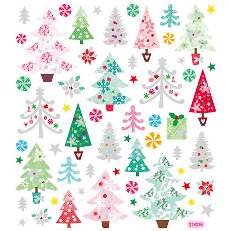 Fancy Glitterstickers, ark 15x16,5 cm, juletræer, 1ark