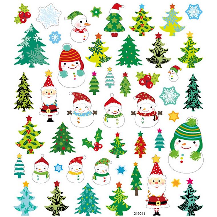 Fancy Glitterstickers, ark 15x16,5 cm, juletræer og snemænd, 1ark