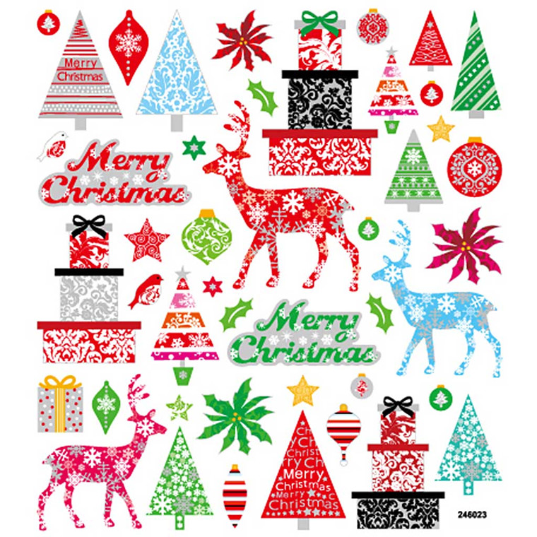 Fancy Glitterstickers, ark 15x16,5 cm, Merry Christmas, 1ark