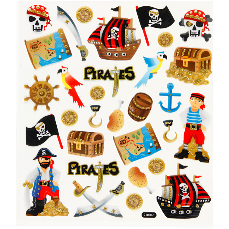 Glitterstickers pirater - ark 15 x 16,5 cm