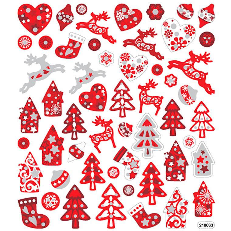 Glitter klistermærker rød/hvid jul - ark 15 x 16,5 cm
