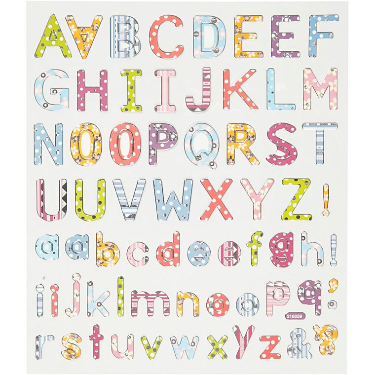 Stickers ark 15 x 16,5 cm - alfabet