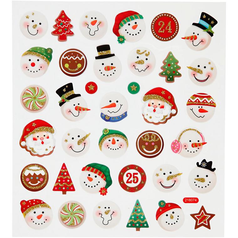 Fancy stickers , ark 15x16,5 cm, hoveder af bla. snemænd, 1ark
