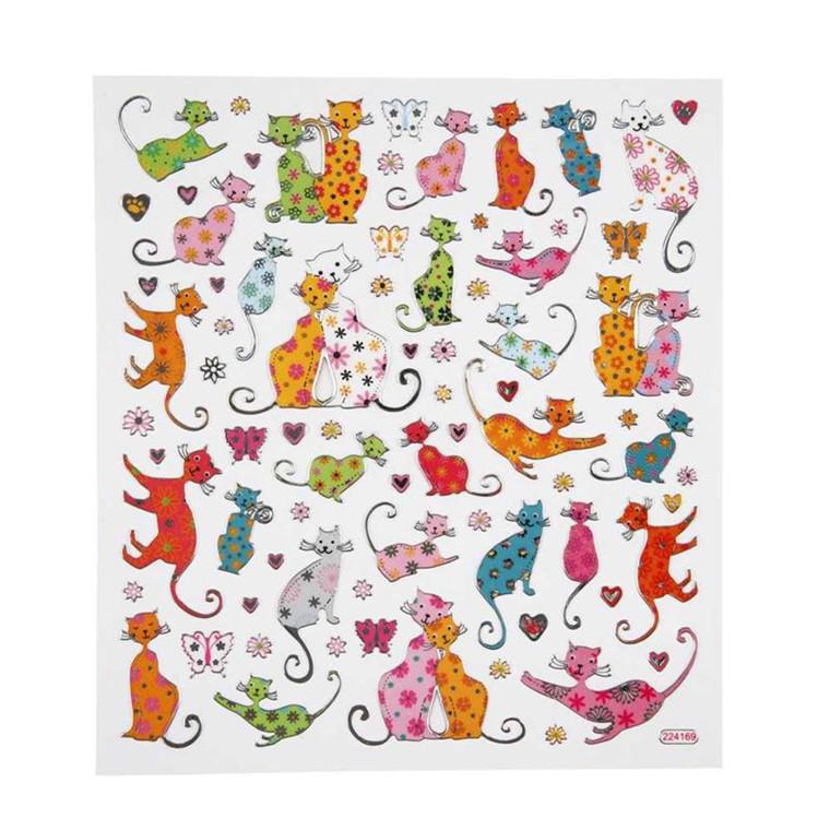 Stickers ark 15 x 16,5 cm - Katte