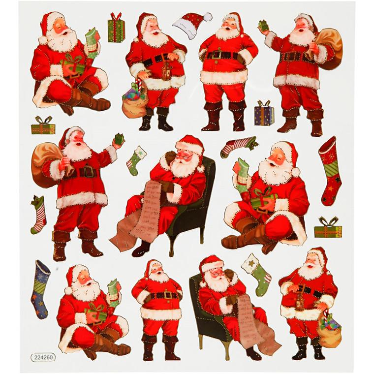 Klistermærker klassiske julemænd - ark 15 x 16,5 cm