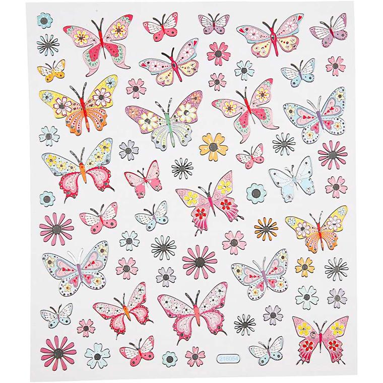 Fancy stickers ark 15 x 16,5 cm - Sommerfugle
