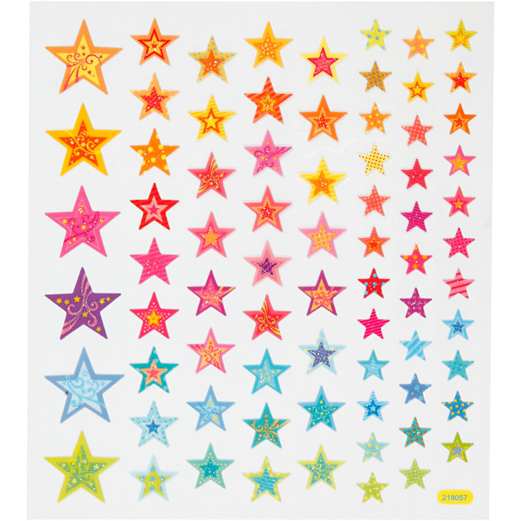 Fancy stickers , ark 15x16,5 cm, stjerner, 1ark
