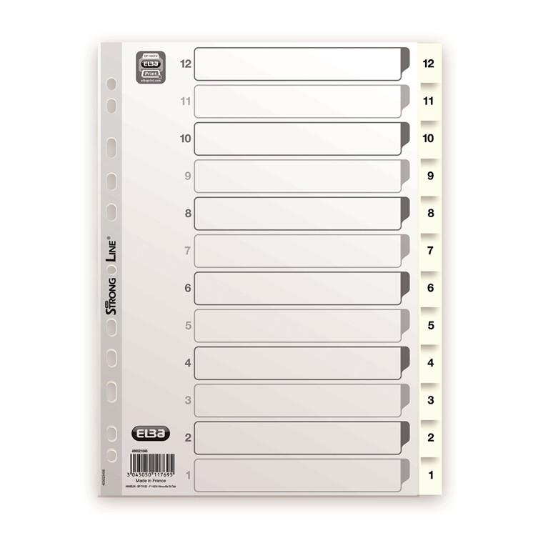Faneblade 1-12 Elba A4 - Hvid plast med kartonforside