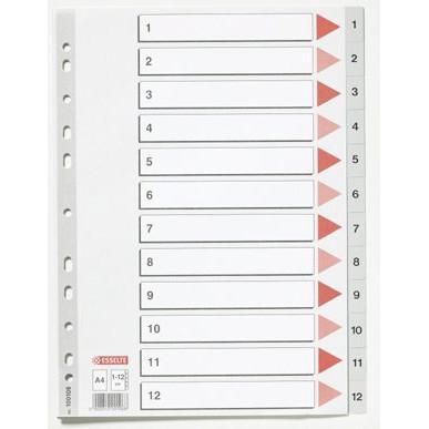 Faneblade 1-12 Esselte A4 - grå plastfaner og kartonforside