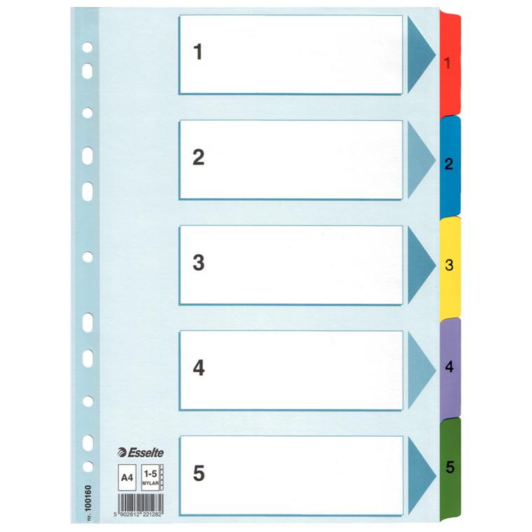 Faneblade 1-5 Esselte Mylar A4 - farvede kartonfaner med forblad