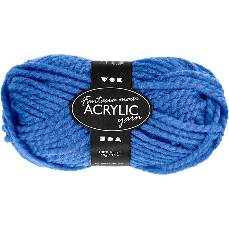 Fantasia Akrylgarn, L: 35 m, blå, Maxi, 50g