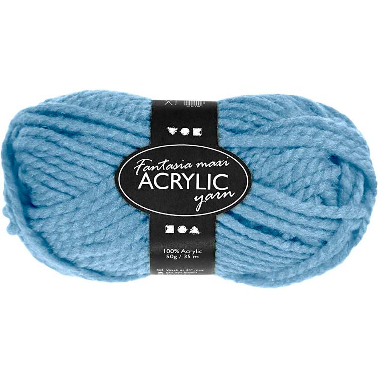 Fantasia Akrylgarn, L: 35 m, lys blå, Maxi, 50g